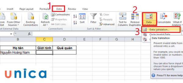 Cách dùng data validation trong excel 2