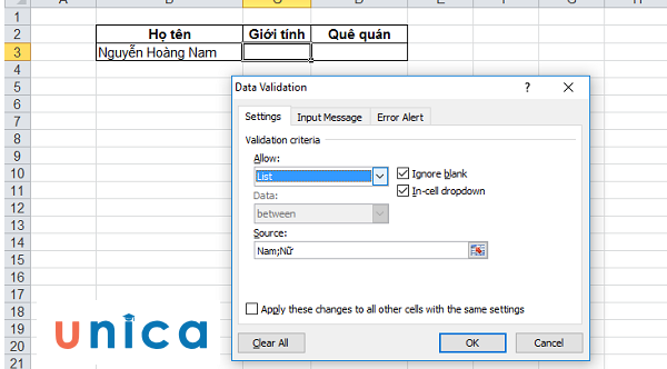 Cách dùng data validation trong excel 3