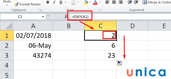 Hàm day trong Excel