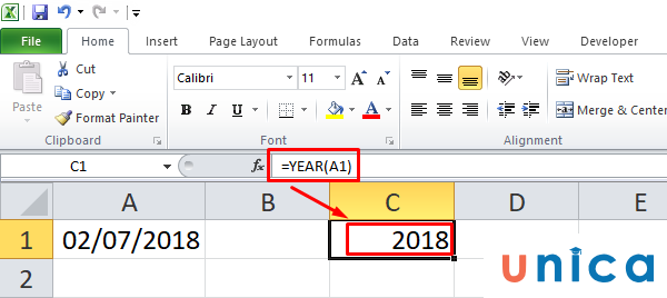 Hàm year trong Excel