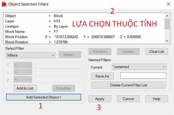 lệnh filter trong cad