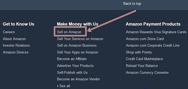 Để đăng ký trên Amazon, bạn kéo xuống cuối màn hình và click vào ô Sell on Amazon