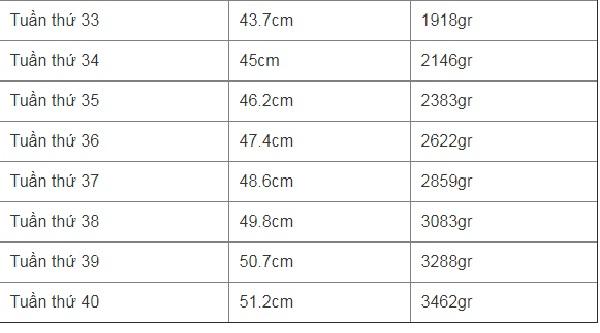 Bảng chiều cao và cân nặng của thai nhi từ tuần 33 - 40