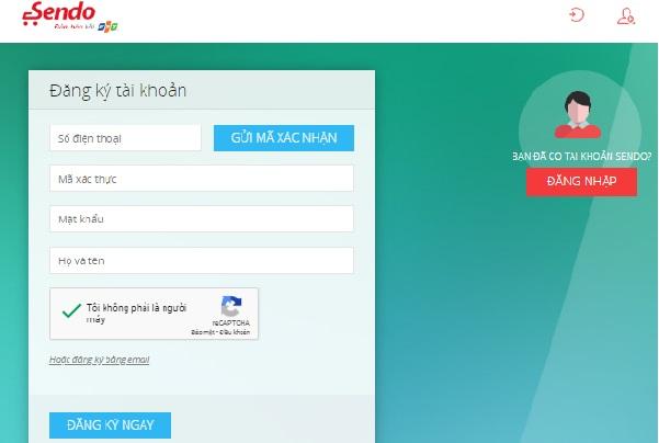 Bạn cần cung cấp số điện thoại và địa chỉ email để thực hiện đăng ký tài khoản trên Sendo