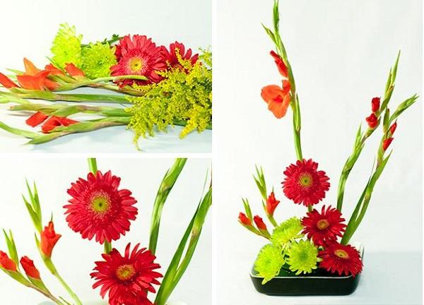 Cắm hoa lay ơn theo phong cách đơn giản