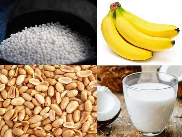 Nguyên liệu nấu món chè chuối bột báng có nguồn gốc từ các thành phần thiên nhiên