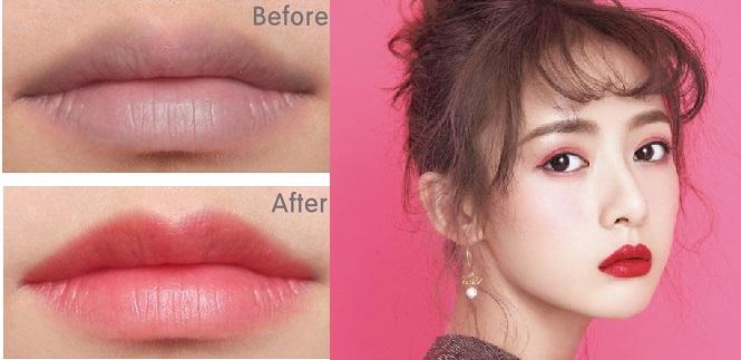 Sau khi xăm môi bạn có thể bị đau và môi sưng nhẹ