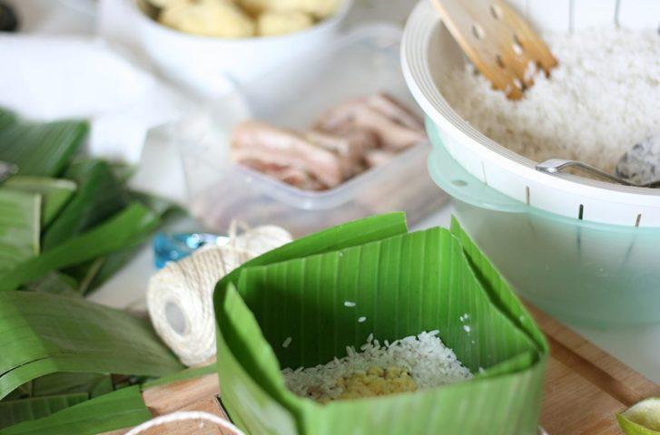 cách gói bánh chưng bằng lá chuối
