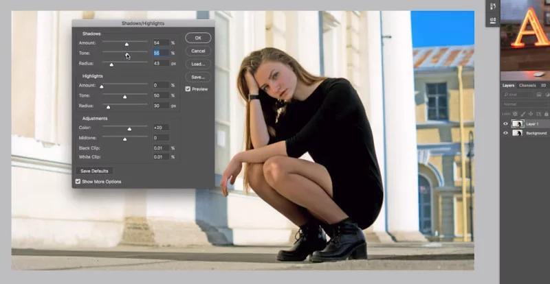 cách làm sáng vùng tối trong Photoshop