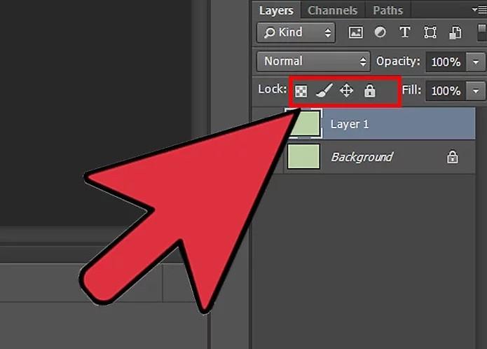 mở khóa layer trong Photoshop