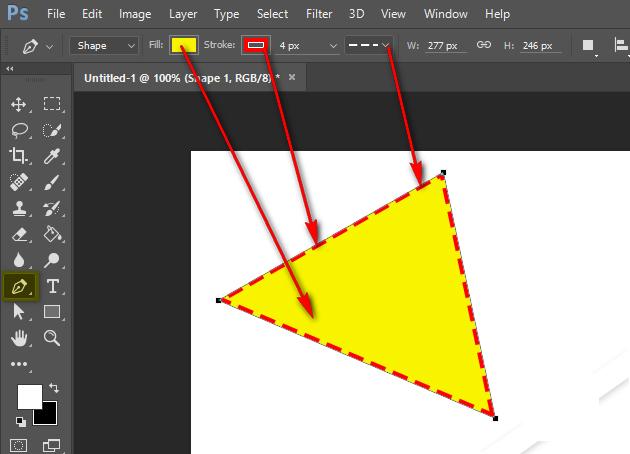 vẽ hình tam giác trong Photoshop