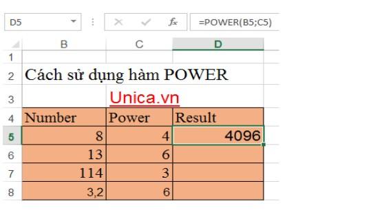 Mô tả cách sử dụng hàm power. Hình 1