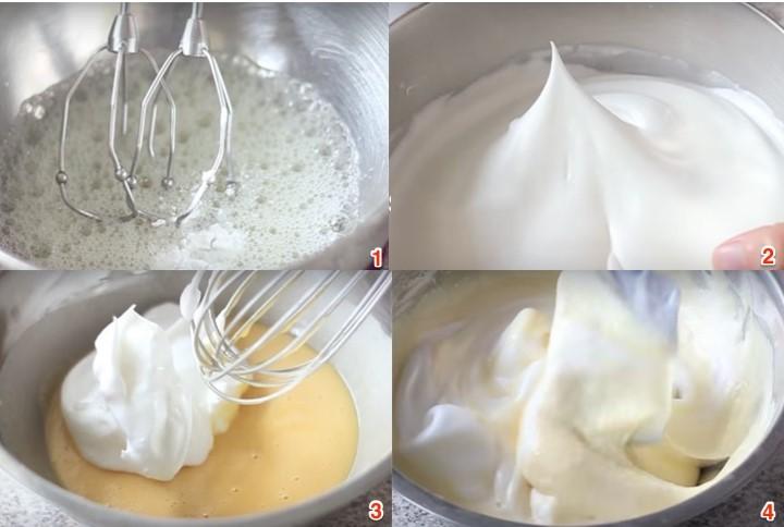 Cách làm bánh bông lan cuộn kem hoa quả