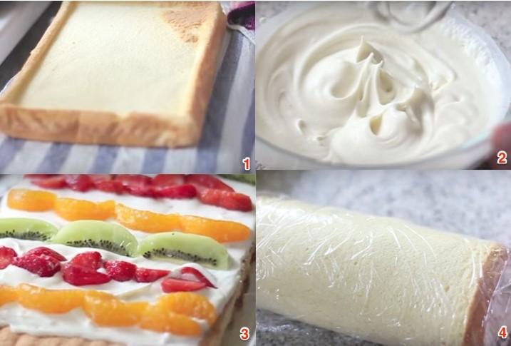 Cách làm bánh bông lan cuộn hoa quả