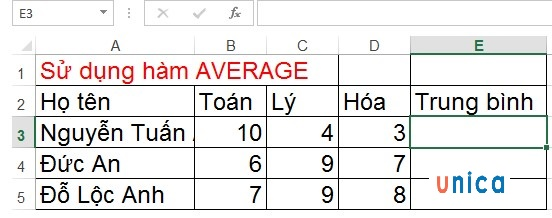 Mô tả cách dùng hàm AVERAGE trong Excel. Hình 1