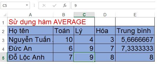 Mô tả ách dùng hàm AVERAGE trong Excel. Hình 2