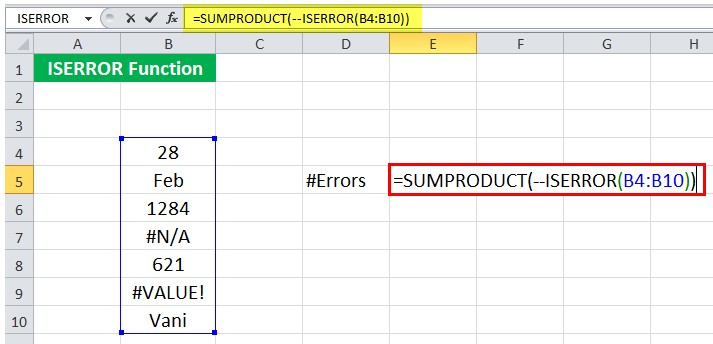Mô tả cách dùng hàm iserror trong Excel. Hình 6