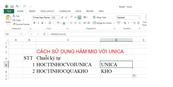 Mô tả cách sử dụng hàm MID trong Excel