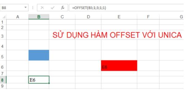 Mô tả cách sử dụng hàm offset trong Excel. Hình 1