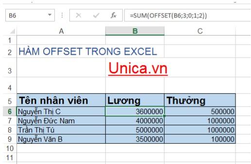 Mô tả cách sử dụng hàm offset. Hình 3