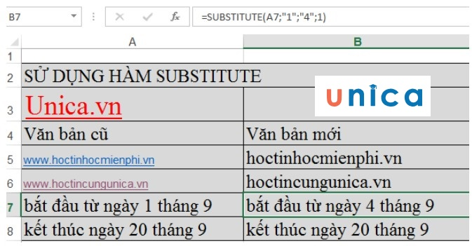 Mô tả cách sử dụng của hàm substitute. Hình 2