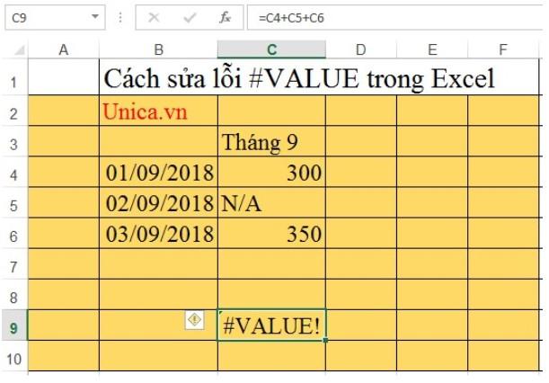 Cách sửa lỗi #value trong Excel. Hình 8