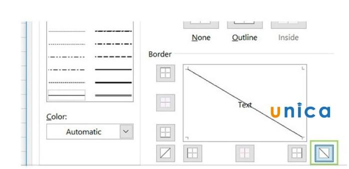 Mô tả cách tạo đường chéo trong ô Excel. Hình 6