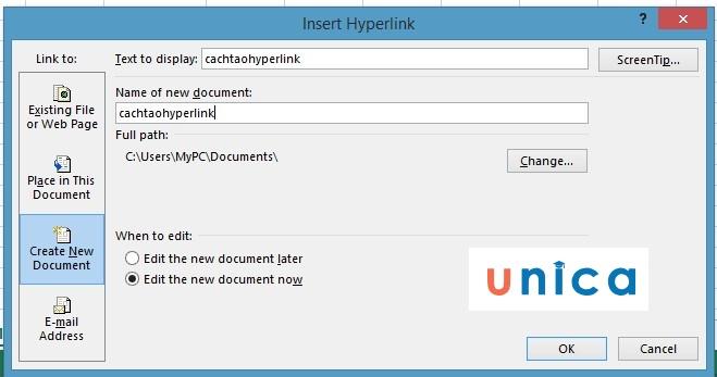 Cách tạo hyperlink trong excel. Hình 4