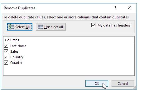Cách sử dụng remove duplicate trong excel. Hình 2