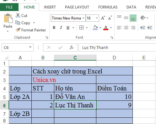 Mô tả cách xoay chữ trong Excel. Hình 1