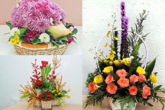Cách cắm hoa bằng lẵng