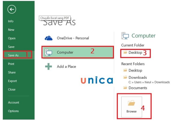 Mô tả cách chuyển file excel sang pdf nhanh chóng. Hình 2