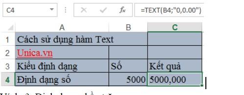 Mô tả cách sử dụng của hàm text và ứng dụng. Hinh 2