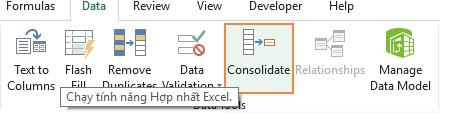 Sử dụng hàm CONSOLIDATE để hợp nhất nhiều bảng tính. Hình 2