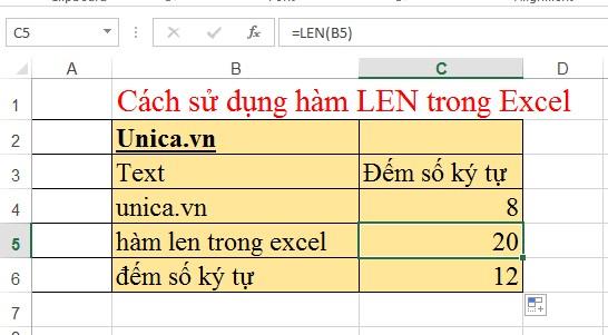 Các hàm đếm ký tự trong excel thường hay sử dụng nhất. Hình 2