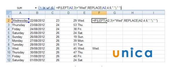 Cách sử dụng hàm REPLACE trong Excel