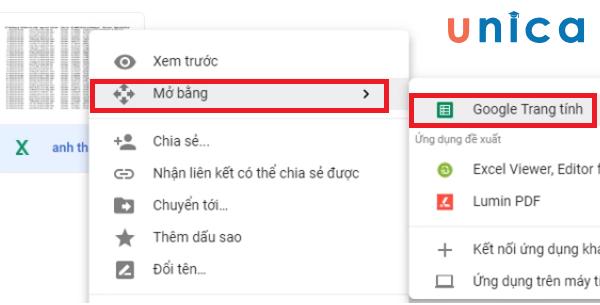 Tải file excel lên google drive 3