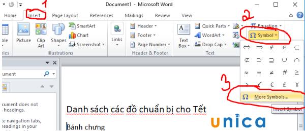 Cách chèn dấu tích vào Word 2