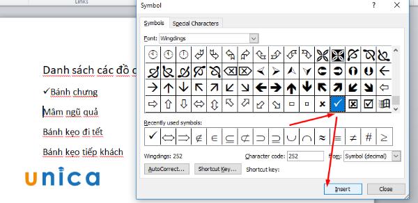 Cách chèn dấu tích vào Word 5