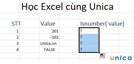 Cách sử dụng hàm isnumber trong excel 1