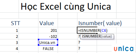 Cách sử dụng hàm isnumber trong excel 2