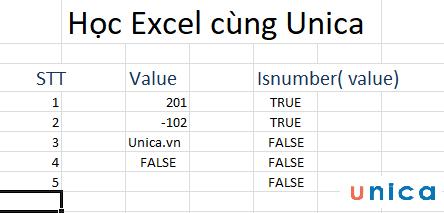 Cách sử dụng hàm isnumber trong excel 3