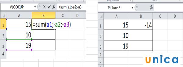 Cách dùng hàm trừ trong excel 4