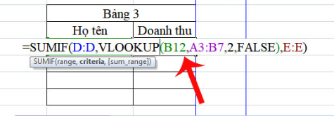 Ví dụ hàm sumif kết hợp với hàm vlookup 2