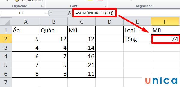 Cách dùng hàm Indirect trong Excel 3