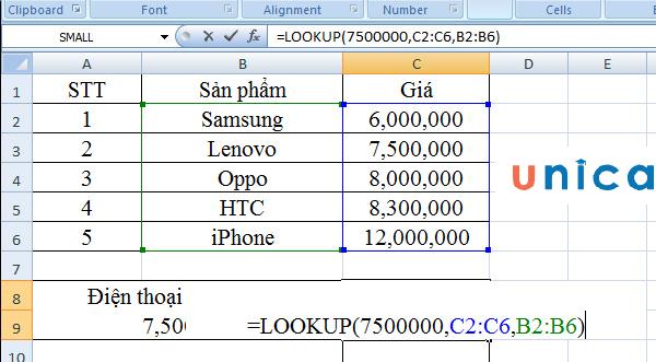 Cách sử dụng hàm lookup dạng vector 2