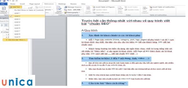 Tạo mục lục tự động trong word 2