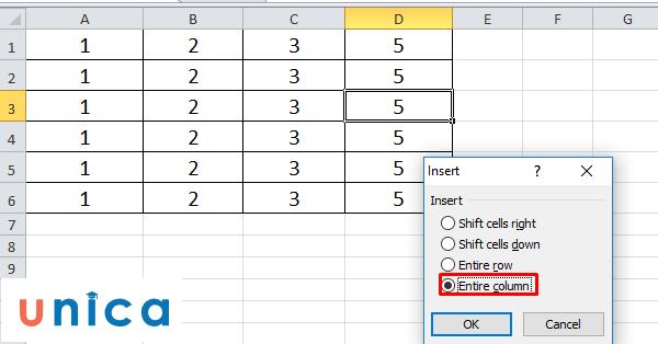 Cách thêm cột trong Excel 2