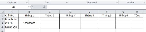 Cách tính lợi nhuận  trong Excel 1
