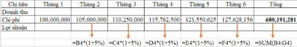 Cách tính lợi nhuận  trong Excel 6